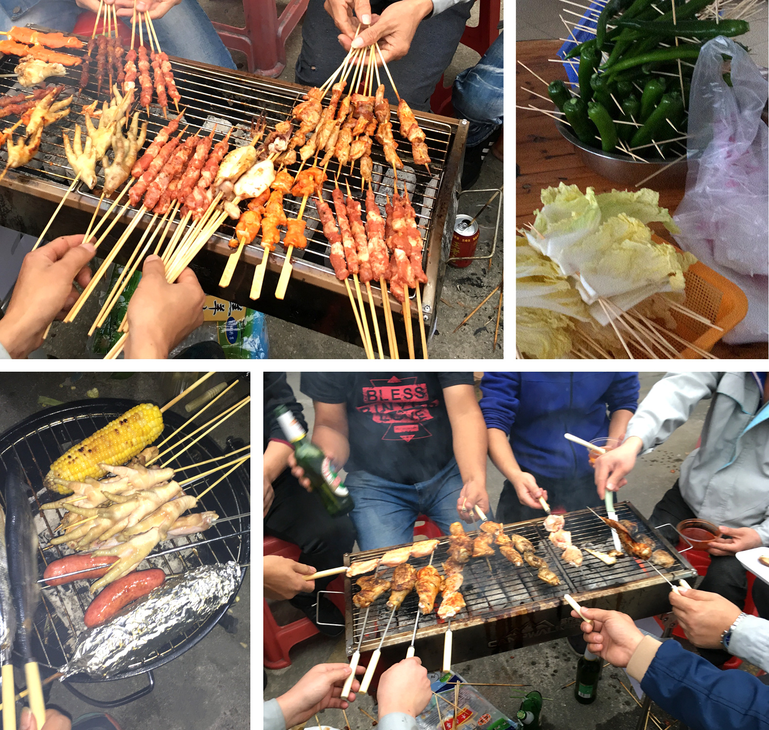 Wewon Employees cooking the chickens, beef, and sea food during the Barbecue Party