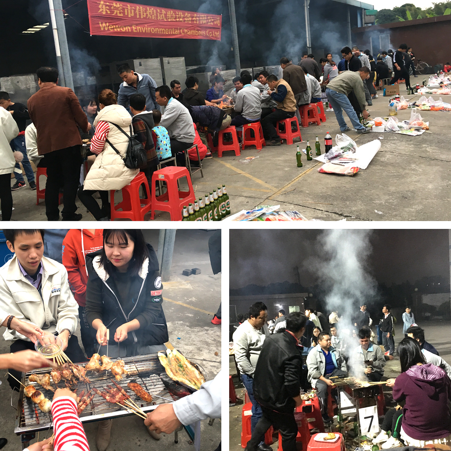 Wewon Employees cooking with barbecue grill