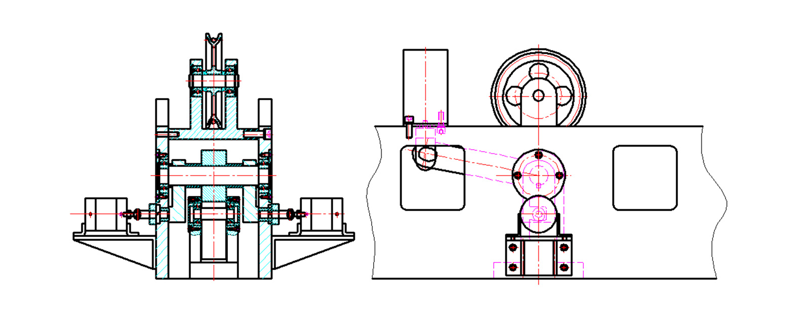 Lock hammer and release drop hammer device drawing design